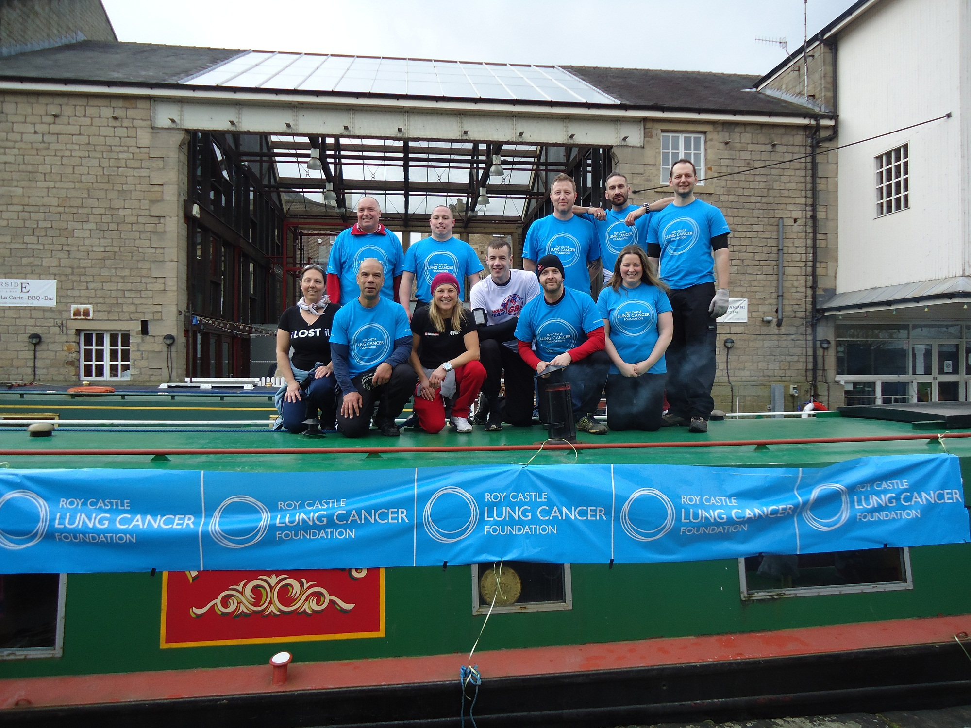 The team that will be pulling the barge from Liverpool to Leeds, via Keighley, in memory of lung cancer victim Julie Robinson