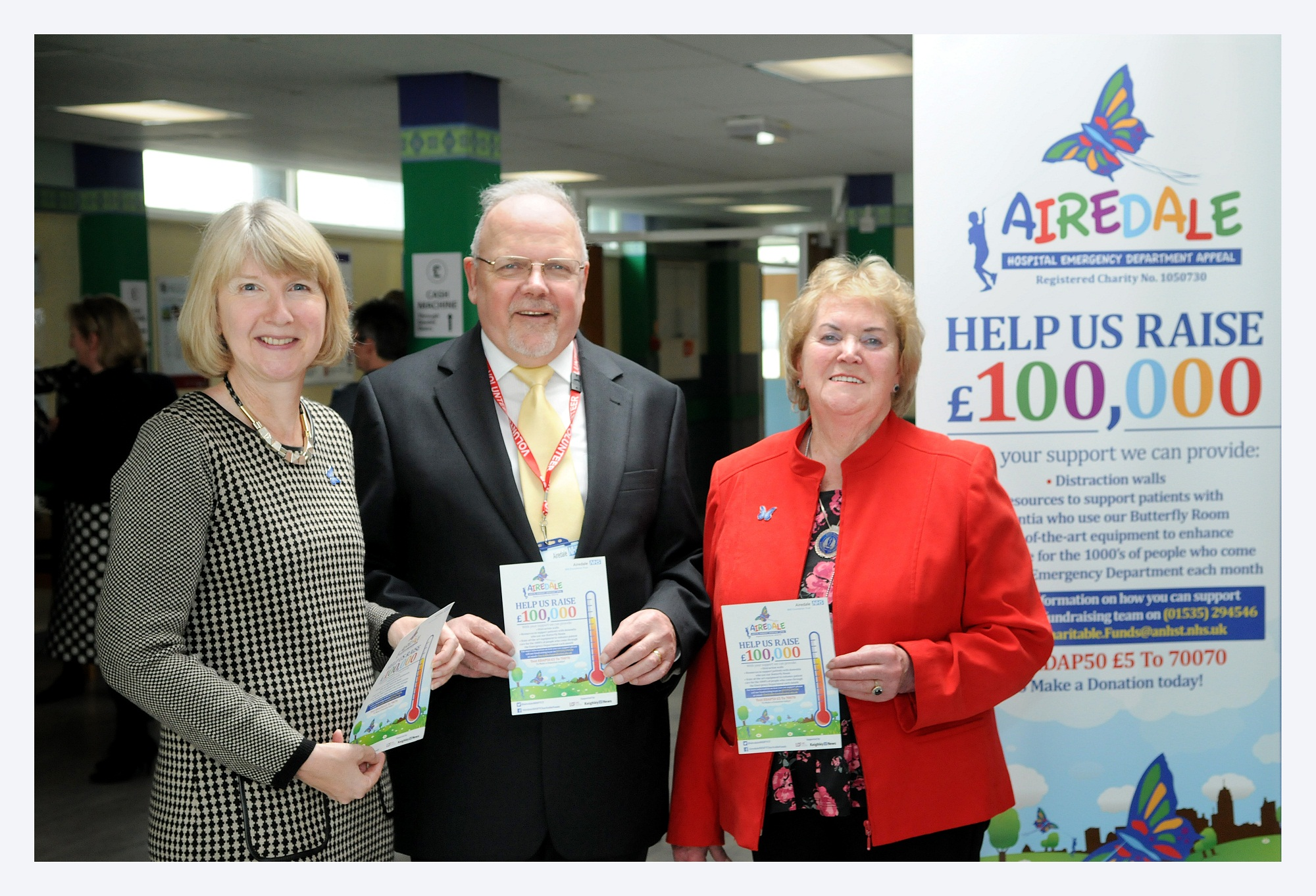 Barbara Hodkinson of the Butterfly Scheme with New Venture chairman Mike Yates and Eileen Proud, Friends of Airedale chairman