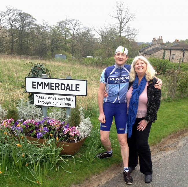 Cullingworth cycling couple in Emmerdale scene