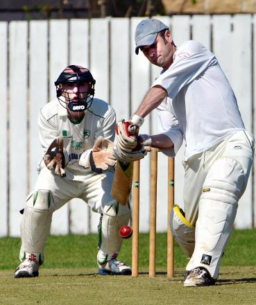 Chris Welch hit 50 not out for Denholme at Bingley Congs before rain intervened