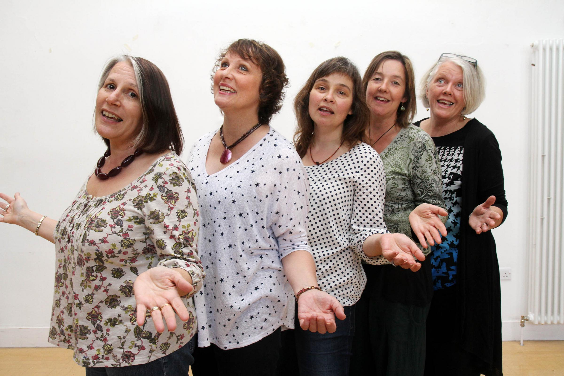 Members of the Shared Harmonies singing group (from left) Lynne Burns, Frances Spencer, Becky Mears, Jo Horrox and Beryl Horrocks