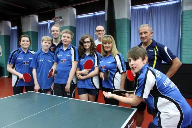 Table tennis players take part in the marathon event for the Teenage Cancer Trust, which helped fellow Haworth Hawks member Jethro Rainford