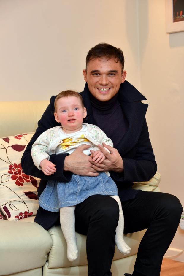 Keighley News: Nicole Vendettuoli gets a cuddle from pop star Gareth Gates