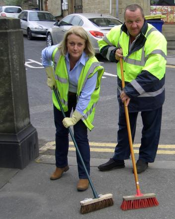 Addingham Parish Council chairman, Councillor Catherine Coates, and Silsden Town Council chairman, Councillor Chris Atkinson, who are hoping to employ a lengthsman to clean the streets of both communities