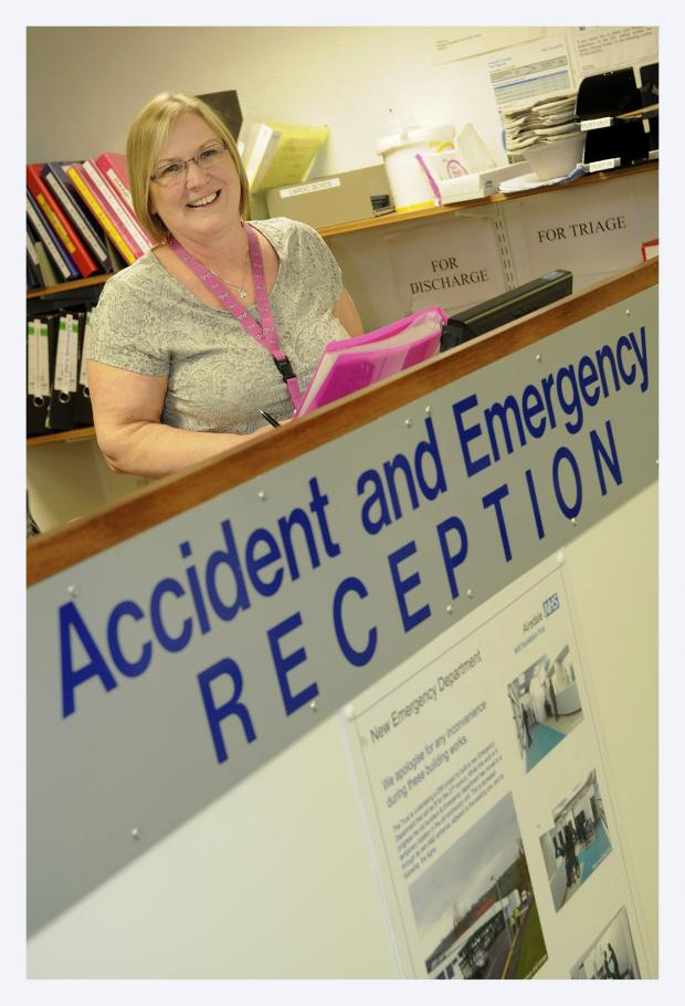 Keighley News: A&E clerk Linda Story knows first-hand the need for a comfortable waiting area for patients visiting the unit
