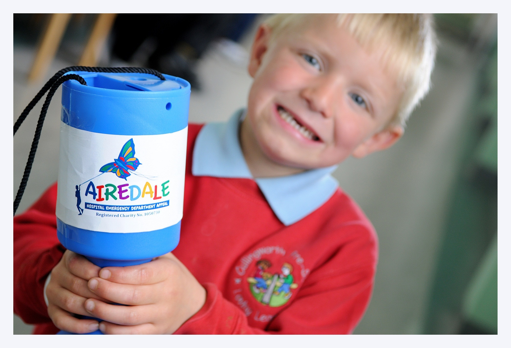 Four-year-old Tiernan Roberts, of Cullingworth, shows his support for the Airedale Hospital A&E campaign