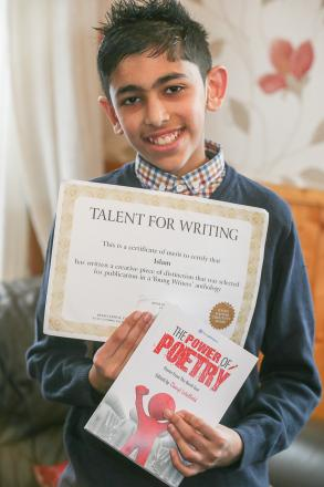 Islam Hussain, who has won a national poetry award