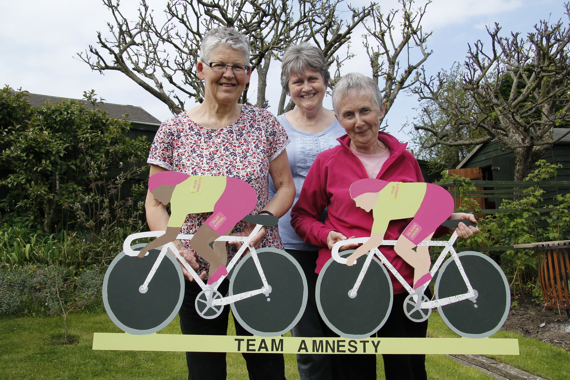 Alison Tribe, Anna Young and June Brennan with the Silsden Amnesty bike display