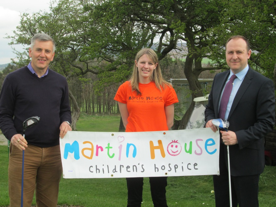 Promoting the AWB Charlesworth golf day are, from left, Pearson and Associates partner, Paul Mason, Katy Lee, from Martin House, and AWB partner, Liam O'Neill