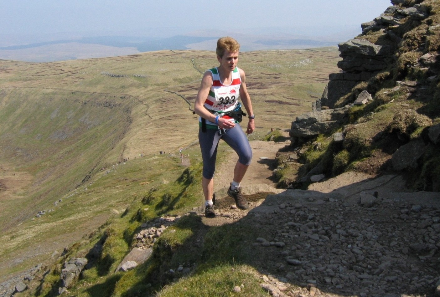 Elizabeth Tomes competing in the Three Peaks race in the colours of Keighley & Craven AC