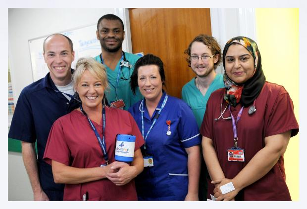 Keighley News: Some of the Airedale Hospital A&E staff members, who are also doing their bit to help coin in the cash for the Emergency Department Appeal