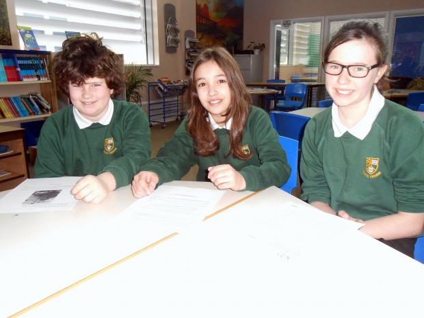 Members of South Craven School's year seven and eight  team, from left, Elliot Whitehead, Hannah Goldblum and Emily Cramby.