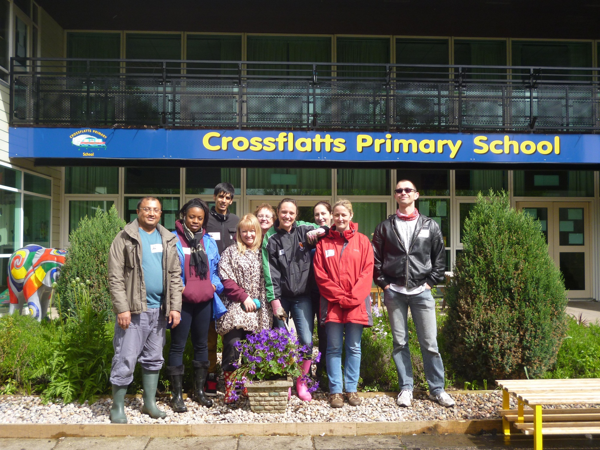 British Gas volunteers carrying out planting at Crossflatts Primary School