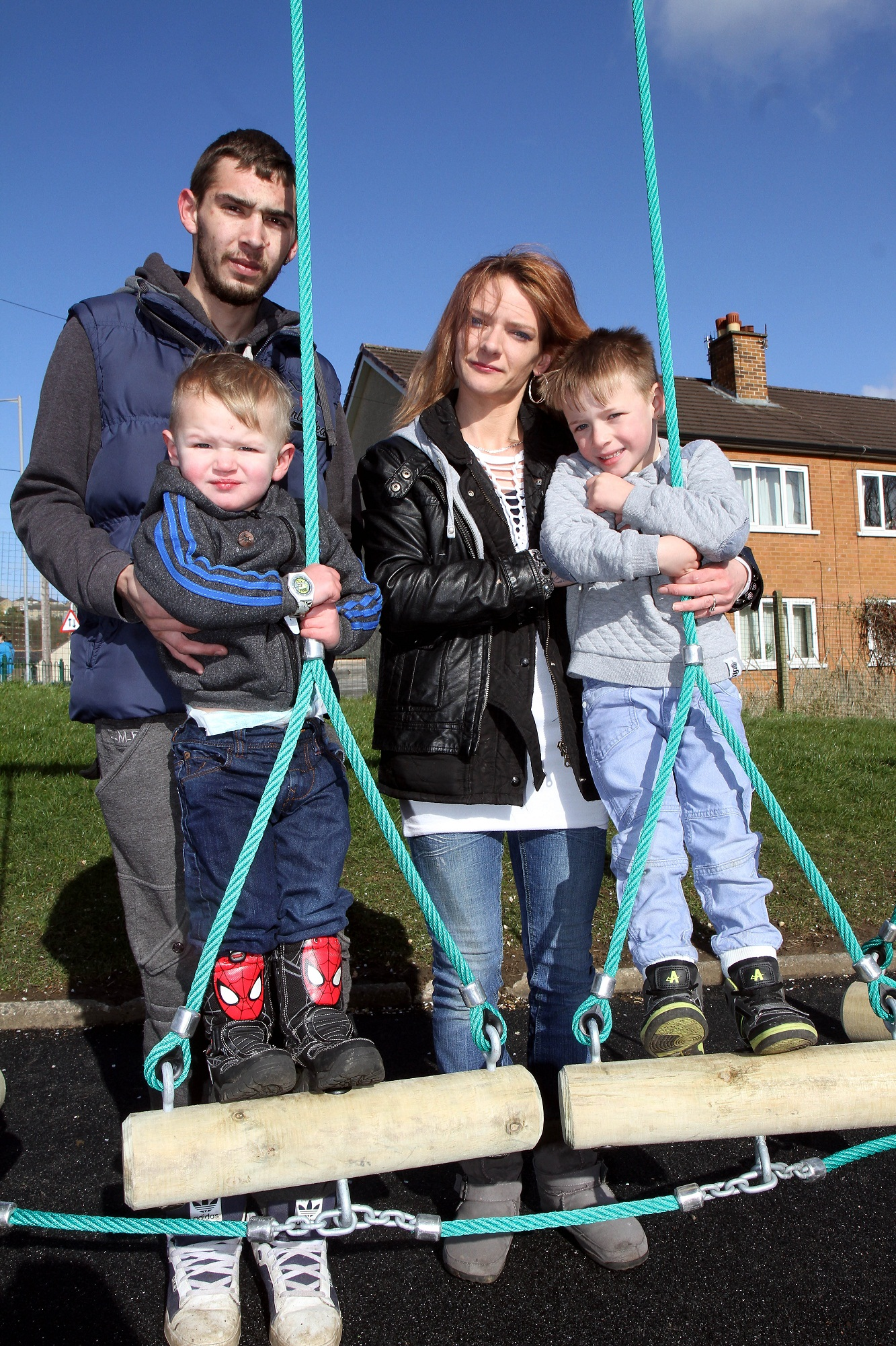 Riley Turner's mother, Sharon Smith, and partner, Guy Earwaker, with children Tyler Earwaker and Mackenzie Turner, at the opening of a Trim Trail at Riley's former school, Worth Valley Primary, in his memory
