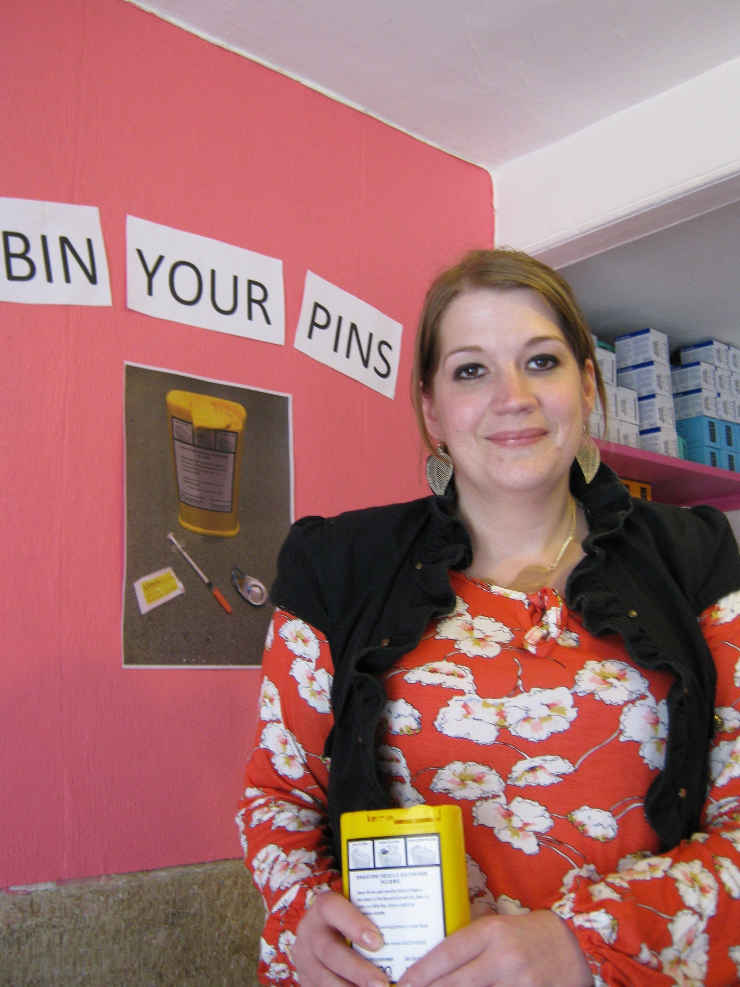 Project 6 worker, Ellie McNeil, promoting the 'Bin Your Pin' campaign among its clients
