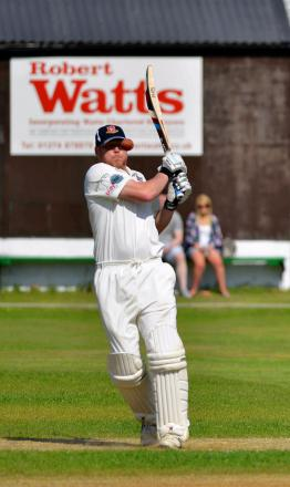 Richard Whitehurst gets into a tangle batting for Cleckheaton against New Farnley last Saturday
