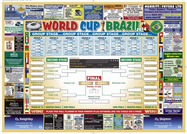World Cup wall planner and England poster in Keighley News
