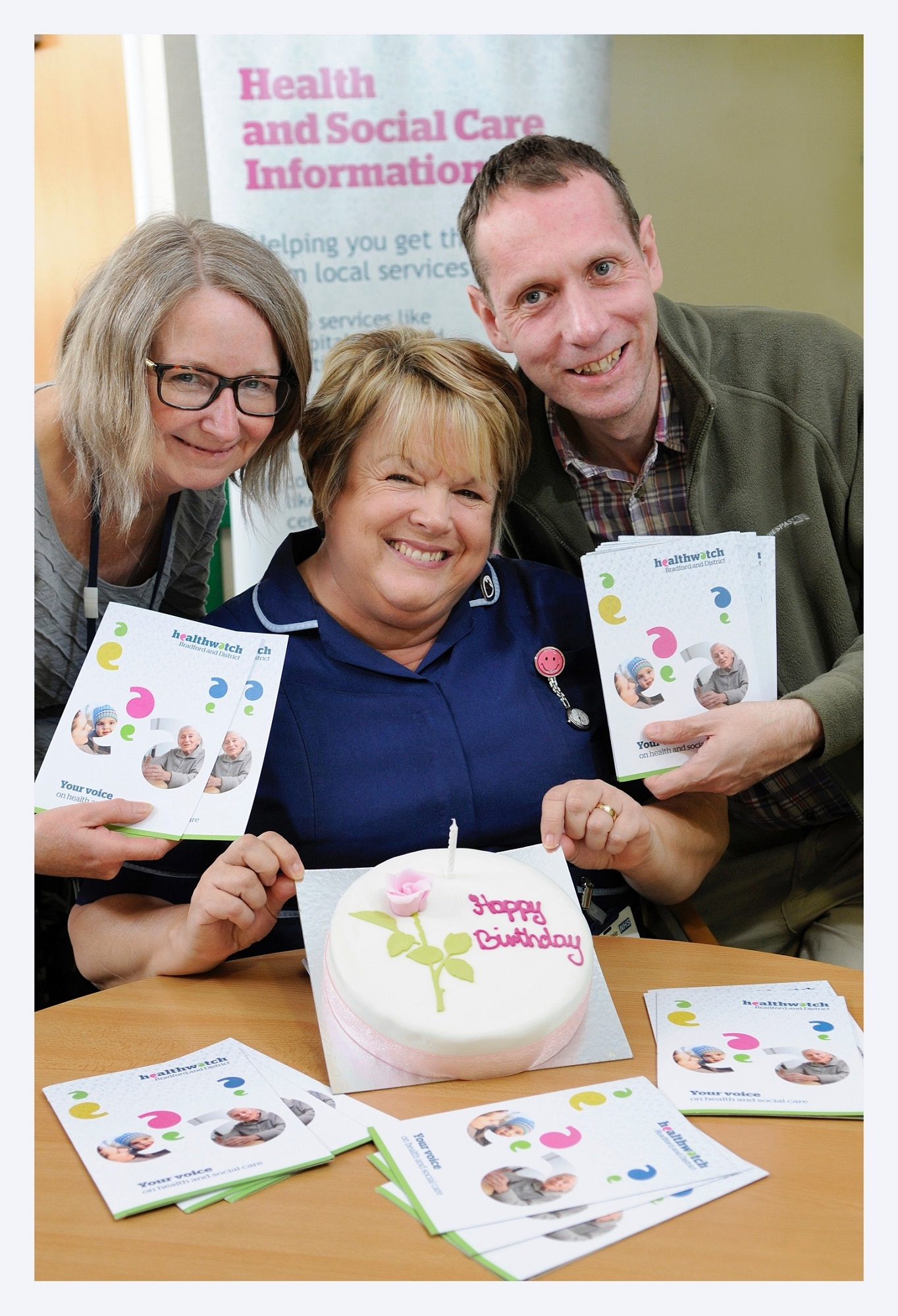 Celebrating the Healthwatch birthday are, from left, Karen Dunwoodie, Brenda Emsley and Healthwatch Bradford and District information officer Daniel Park