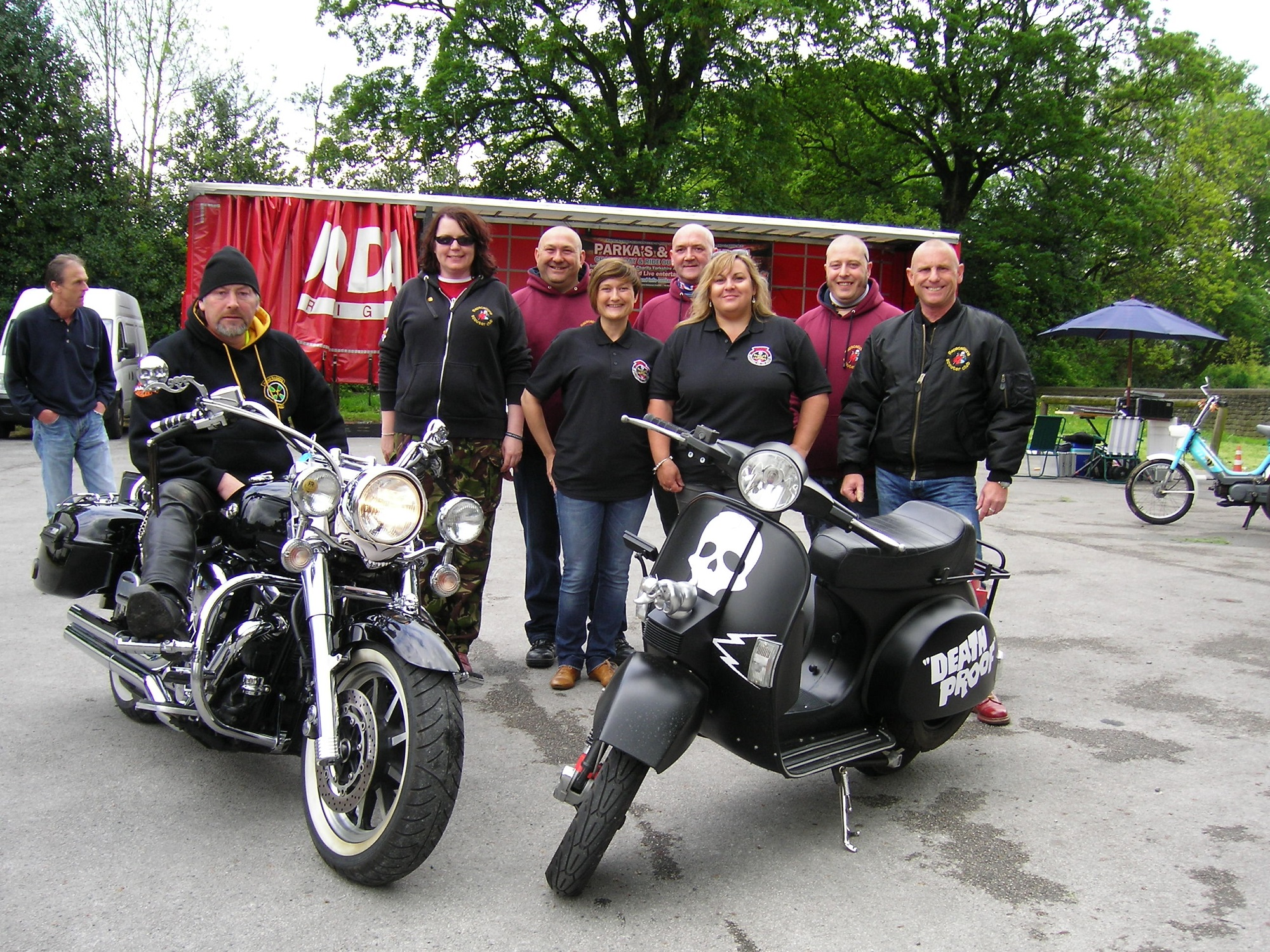 Participants, including members of the Rapscallions Scooter Club, at the Bay Horse car park in Sutton during the Parkas and Leathers event