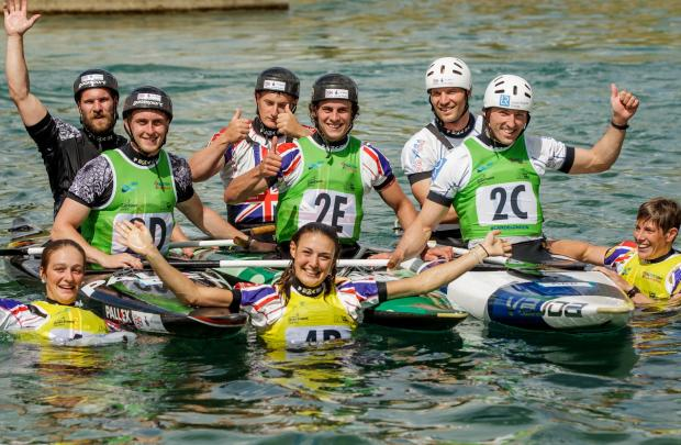 Cononley's Beth Latham, middle front, celebrates with the GB team in the World Cup at Lee Valley. Beth won gold with the K1 women's team.