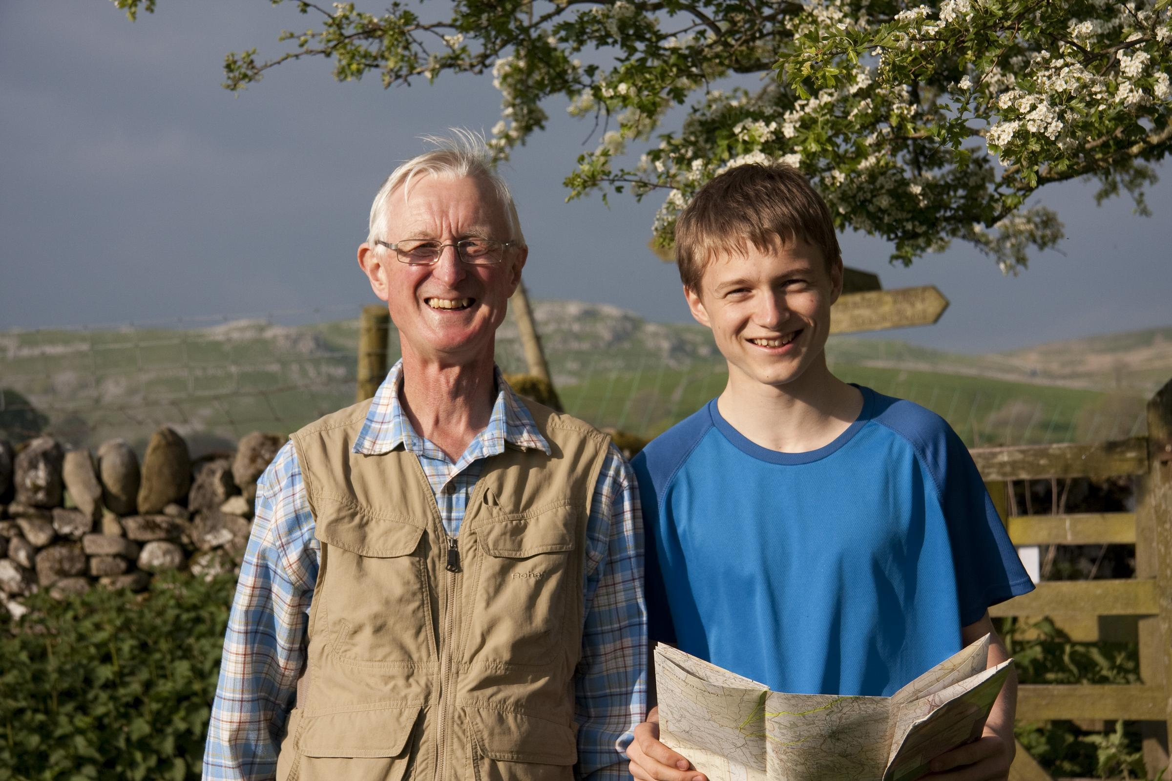 Tom Crossley, who is to walk the Pennine Way for the Airedale Hospital Emergency Department Appeal, and his grandfather John Asher