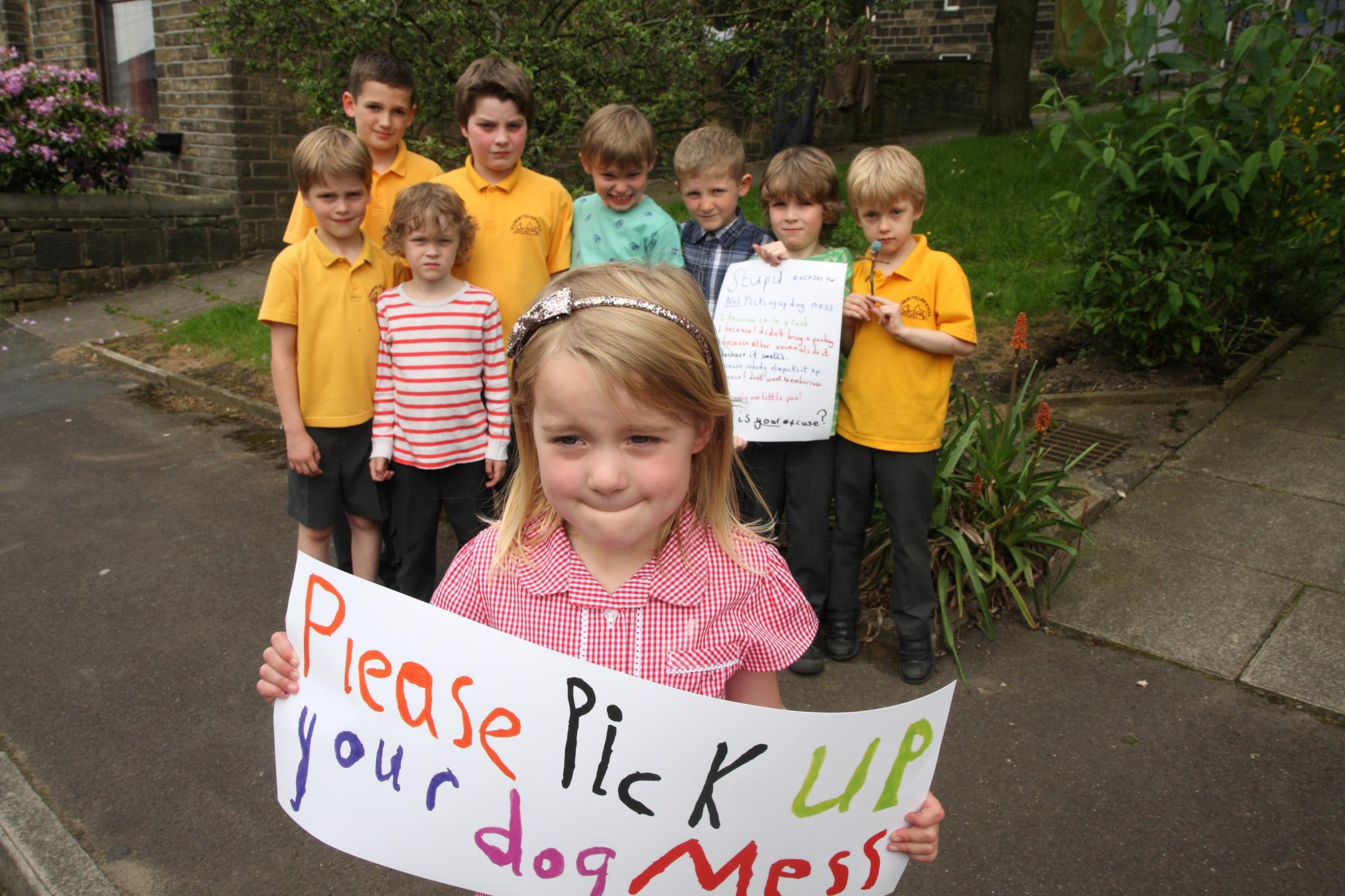Haworth youngsters and parents urge dog owners to clean up after their pets