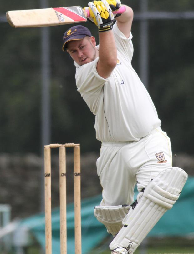Keighley News: Sutton batsman Dave Snowden hits out on his way to a top score of 50 against Oakworth II