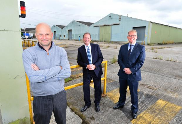 Pictured at the site of Riverside Business Park are, from left, James Turner, managing director of Turner Developments; Mike Atkinson, director of Atkinson Associates and Paul Young, commercial property partner at Gordons
