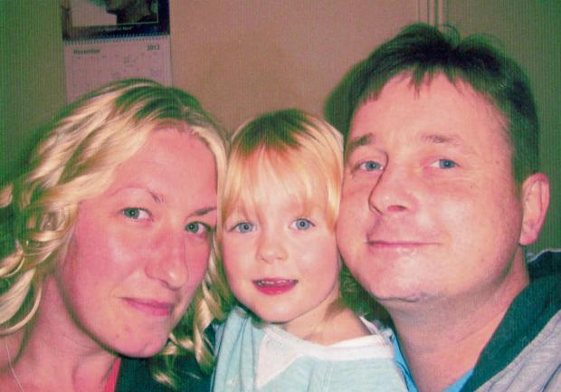 Sam Carlisle with his wife Jo-Jo and daughter Skye
