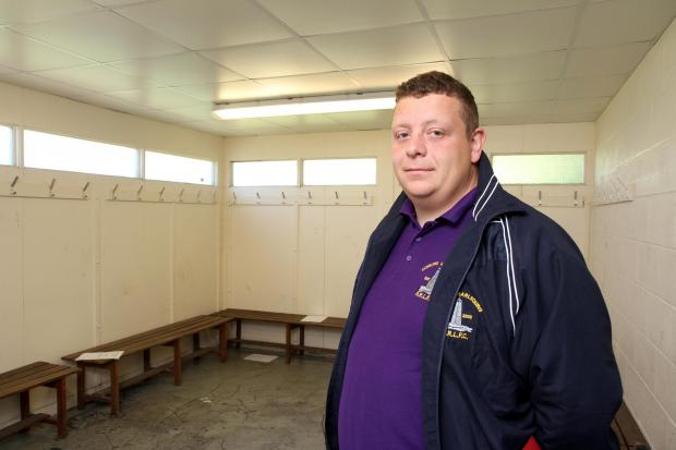 Keighley News: Darren Greenwood of Cowling Harlequins at the Burgess' Fields changing rooms which were vandalised (8082593)