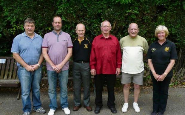 Summer Doubles winners and runners up (from left): Ian Dewhirst and Graham Reay (winners), Trevor Hargreaves (sponsor), Warren Burnett (president),Mick Bastow and Viv Abell (runners-up)