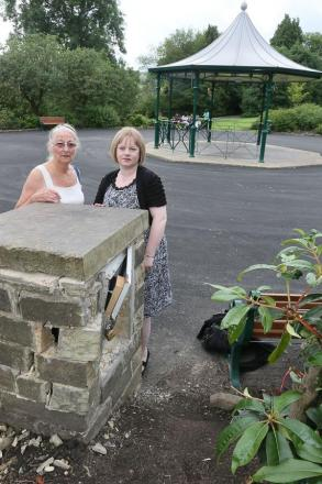 From left, Gillian Hill of Friends of Haworth Central Park and Councillor Rebecca Poulsen next to the damaged bandstand power supply