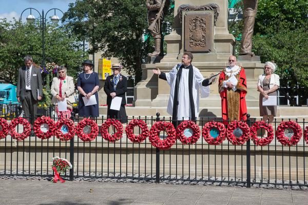 Reverend Dr Jonathan Pritchard and Keighley mayor Councillor Graham Mitchell lead the ceremony in Town Hall Square