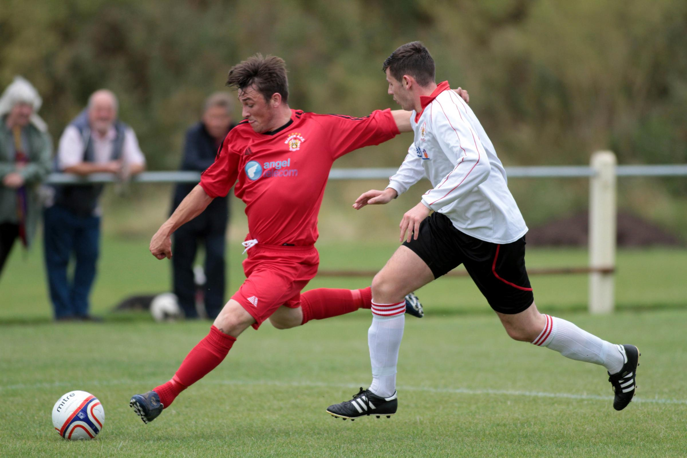 Nicky McNally shoots for Silsden during their 4-1 victory over Abbey Hey