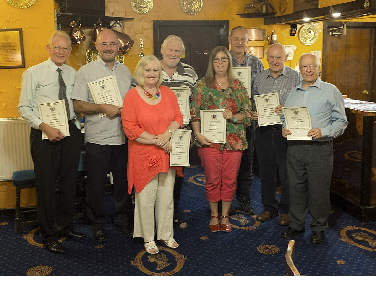 Keighley and District Photographic Association certificate winners, from left, John Raven, Malcolm and Janet Whitelock, Iain Sutherland, Linda Harrison, Tony Pickering,Malcolm White and Stewart Cardwell. Elain