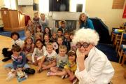 'Mad professor' Leon Delaney, 14, joins children at Exley Head Methodist Church who took part in the holiday club