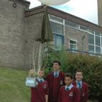 Keighley News: Some of the Holy Family pupils show off their camera balloon
