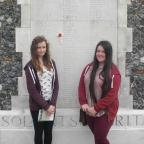 Keighley News: Oakbank School pupils Charlotte Harris, left, and Thalia Jefferson during their trip to the battlefields of the First World War