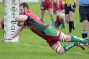 Josh Hannah goes over for his first try for Keighley against Ripon. Picture: Charlie Perry