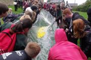 South Craven School pupils enjoying the improvised charity duck race