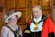 The newly elected Lord Mayor Of Bradford Mike Gibbons is sworn in at City Hall, with Lady Mayoress Elizabeth Sharp. AG Rep CA  (12061305)