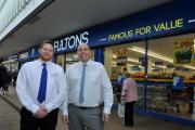 Fulton Foods' Damien Humphreys and Michael McKenna outside the expanded store in the Airedale Shopping Centre, Keighley
