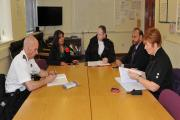 Pictured at the Keighley Fire Station meeting are Area Manager Fire Safety Ian Bitcon, Cllr Kaneez Akthar, Keighley Fire Station manager Mark Helliwell, Cllr Abid Hussain and Inspector Sue Sanderson from Keighley Neighbourhood Policing Team