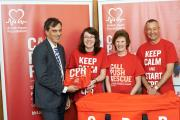 South Craven MP Julian Smith at the launch of the British Heart Foundation campaign, with Samantha Hobbs and her parents
