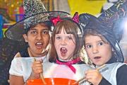 Eastburn Junior & Infant School pupils Eshal Malik 10, and Sian Thompson and Georgia Gudgeon, both six, enjoy the Magic & Mystery Day