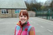 Oxenhope Primary School headteacher Kathrine Nutting in the playground where the new games area will be installed