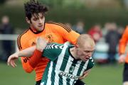 DECIDER: Graham Holmes, right, scored the crucial second goal for Steeton
