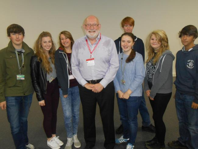 Engineer professor Kel Fidler, centre, with South Craven School students. Students are, from left, Ewan Smith, Molly Smith, Sarah Hurstwick, Georgia Simpson, Matthew Keys, Amelia Batty and Duda Cernadas.