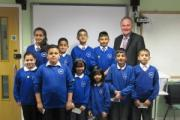 Labour Party prospective parliamentary candidate, John Grogan with pupils of St Andrew's CE Primary School