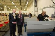 Chris Stott explains the workings of the Industrial Centre of Excellence to Keighley mayor councillor Graham Mitchell during his tour of the new centre at Keighley Campus Leeds City College